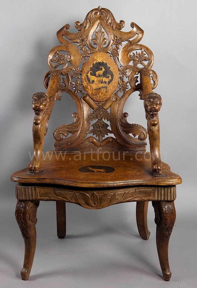 Finely Carved And Inlaid Walnut Chair With Musical Work, Swiss 1900
