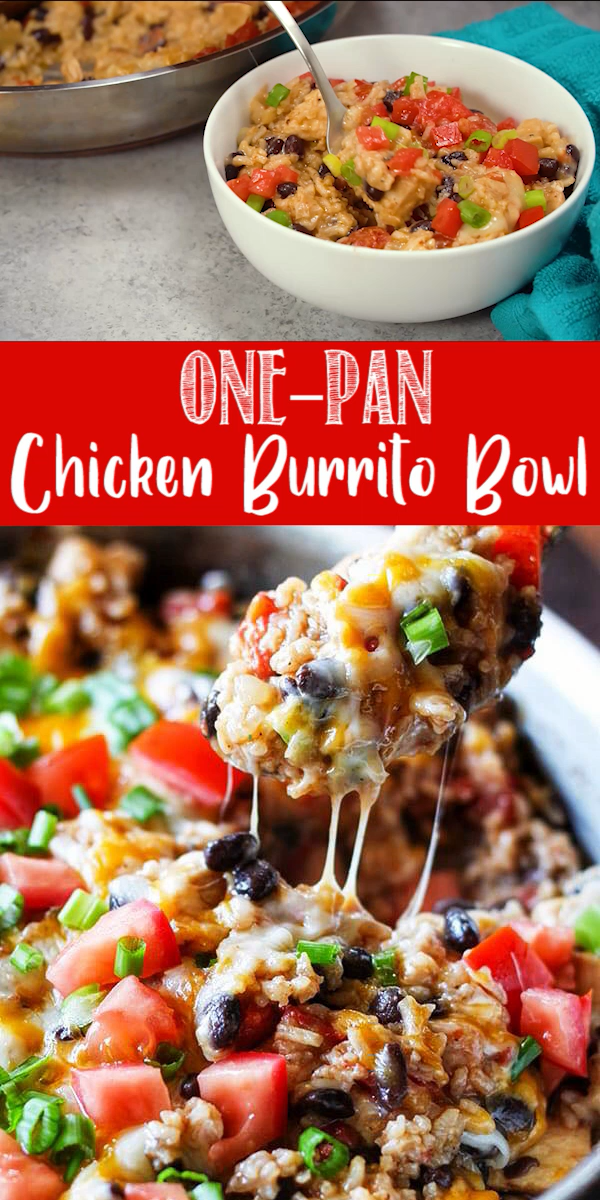 One-Pan Chicken Burrito Bowls is one of my new favorites. It's packed with flavor and so easy to make. I combined boneless, skinless chicken breast, Mexican rice, black beans, and tomatoes with Mexican spices. It's so delicious and the best part is, everything cooks in just one pan, even the rice. This one-pot meal was a huge hit with my family and it's faster than driving to get takeout!