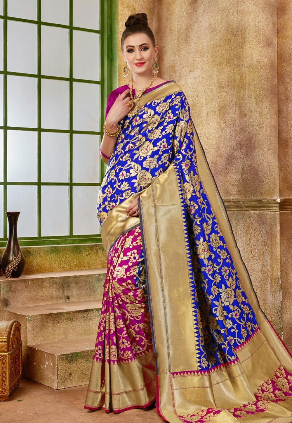 ef910d2e5b7c83 Buy Blue Banarasi Silk Saree With Blouse 153746 with blouse online at  lowest price from vast