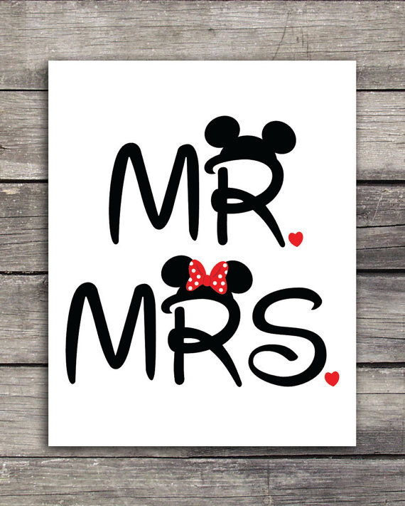 Mr. and Mrs. Mickey and Minnie Wedding Graphics-Use to print on shirts, mugs or any product of your choice. Great for your Disneymoon #graphicprints