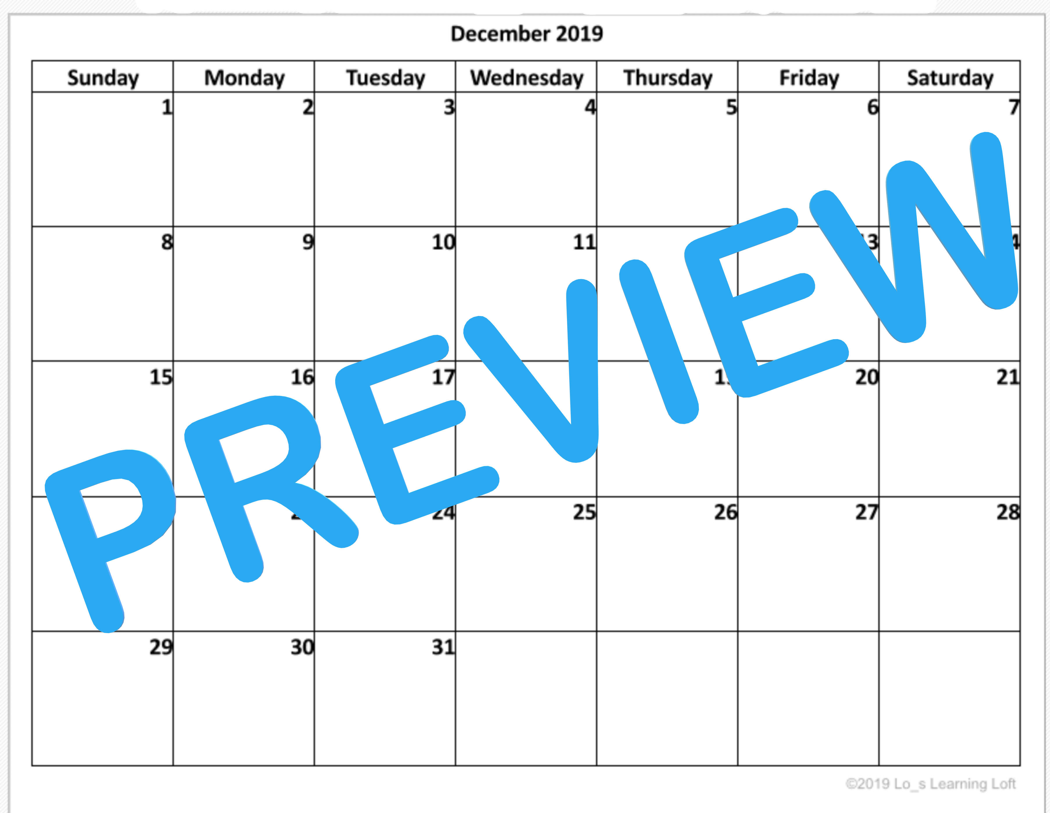 Simple Basic Blank Calendar