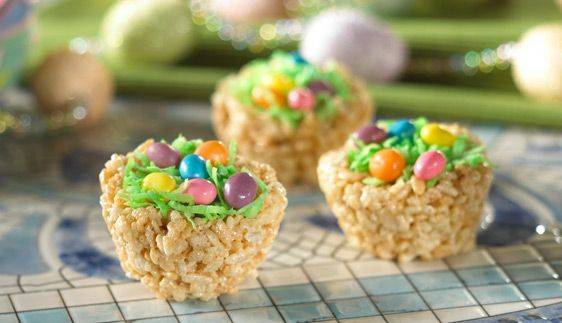 Easter Recipe: Robin's Egg Nest Treats.  Note: Use only gluten-free Rice Krispies, regular Rice Krispies are not gluten-free.  Our recipe adds peanut butter & it is delish!