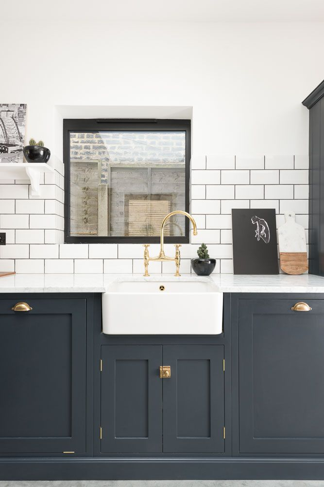 Sink Run Painted In Pantry Blue With Our Aged Brass Ionian
