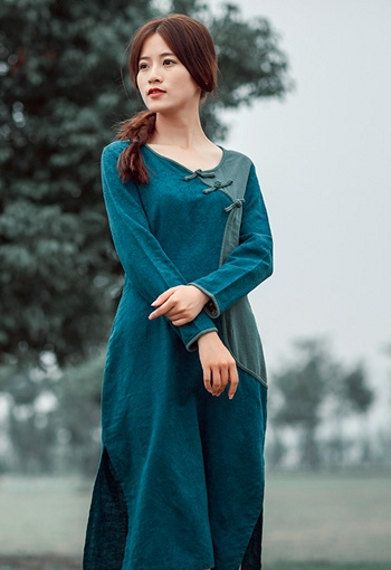 Women's Dress Long Sleeve Maxi Dress Round Neck by MissLinen