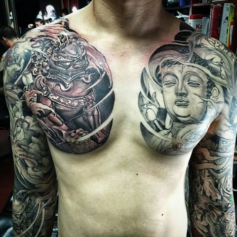 Foo Dog And Buddha Chest Plate Piece In Progress Done By Master Mike Chest Piece Tattoos Foo Dog Tattoo Tattoos