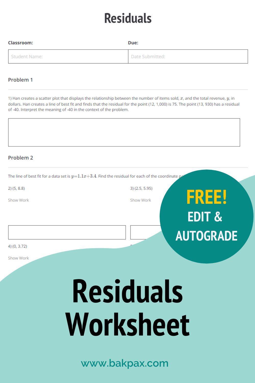 Free Residuals Algebra 1 Worksheet Algebra Worksheets Free Algebra Algebra