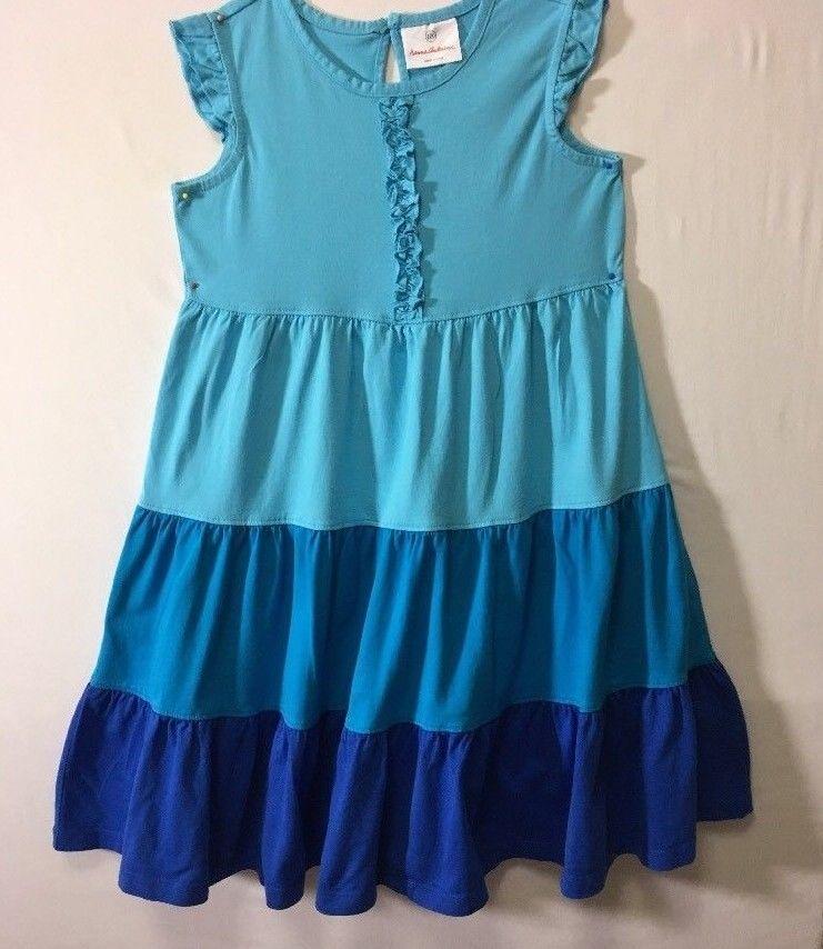 54c49842faaa Hanna Andersson Girls Dress Size 120 Blue Twirl Dress 100% Cotton ...