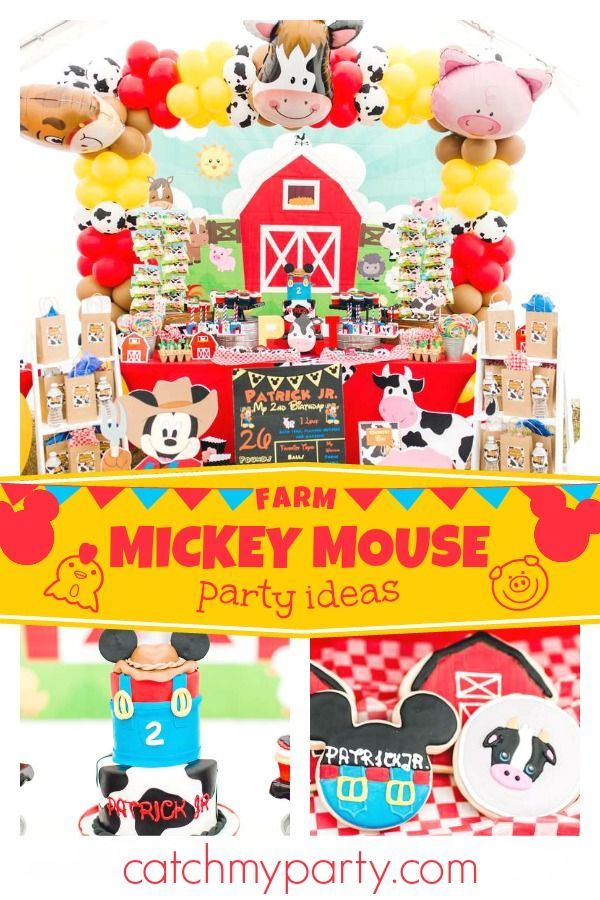Feast your eyes on this fun farm themed Mickey Mouse birthday party! The  birthday cake is awesome! See more party ideas and share yours at CatchMyParty.com #catchmyparty  #partyideas #mickeymouseparty #farmparty #mickeymousefamparty  #boybirthdayparty #mickeymousebirthdaypartyideas1st