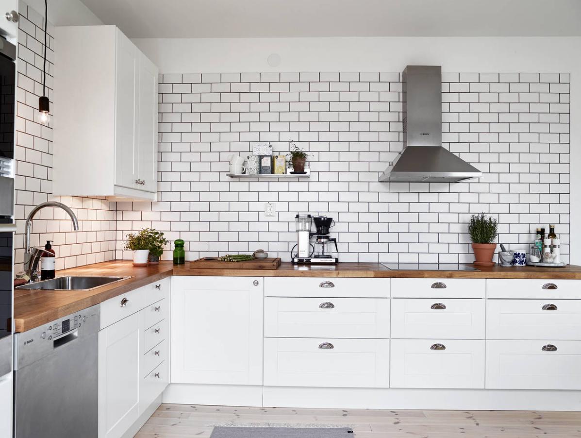 metro white tile kitchen inspiration wood countertop   lemoli ...