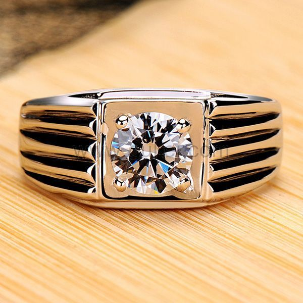 Engraved 0.6 Carat Mens Diamond Band Pt Plated Silver