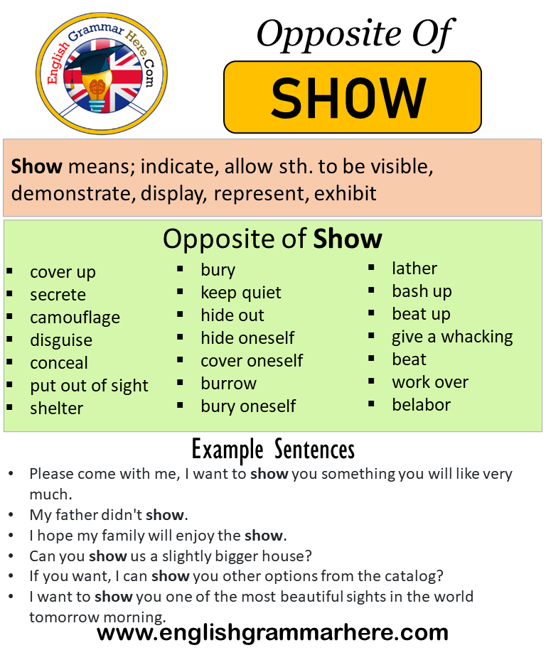 Opposite Of Show Antonyms Of Show Meaning And Example Sentences Antonym Opposite Words Contradict Each Other And Opposite Words Learn English Words Antonyms