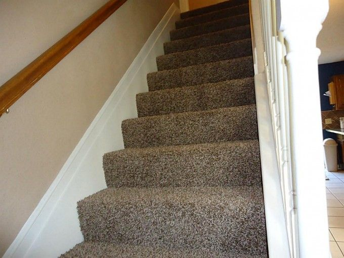 Best Tan Frieze Carpet On Stair Step Matched With Beige Wall 400 x 300