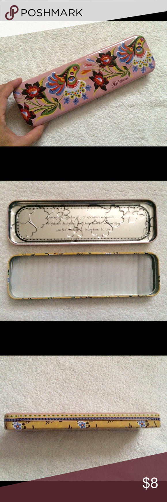 """Brighton Unused Empty Metal Watch Pencil Case Unused Brighton watch container, excellent condition. 9.5"""" long. It is a pretty pink and yellow Floral design. No noticeable marks or scratches. Brighton Accessories"""