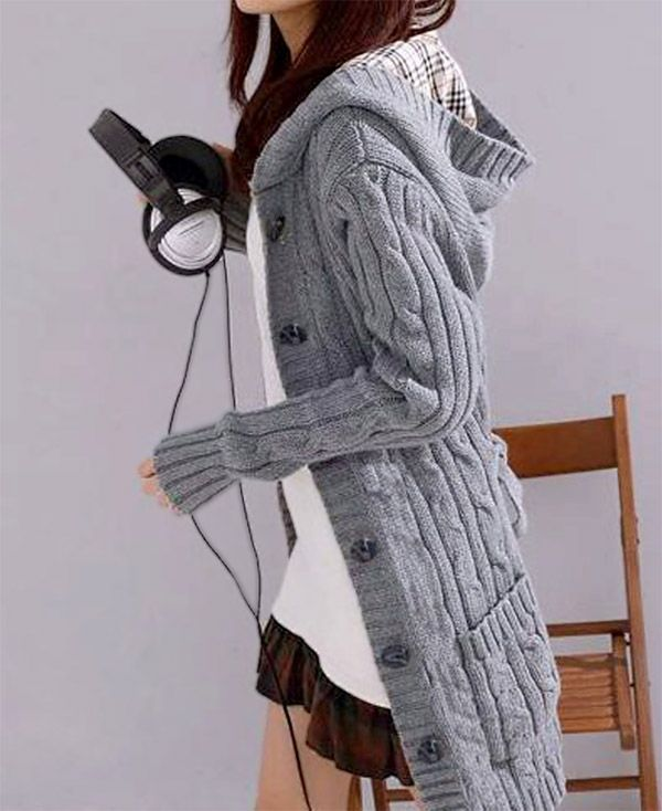 Women's Gray Cable Knit Hooded Cardigan | Scarf & Cardigan (Women ...