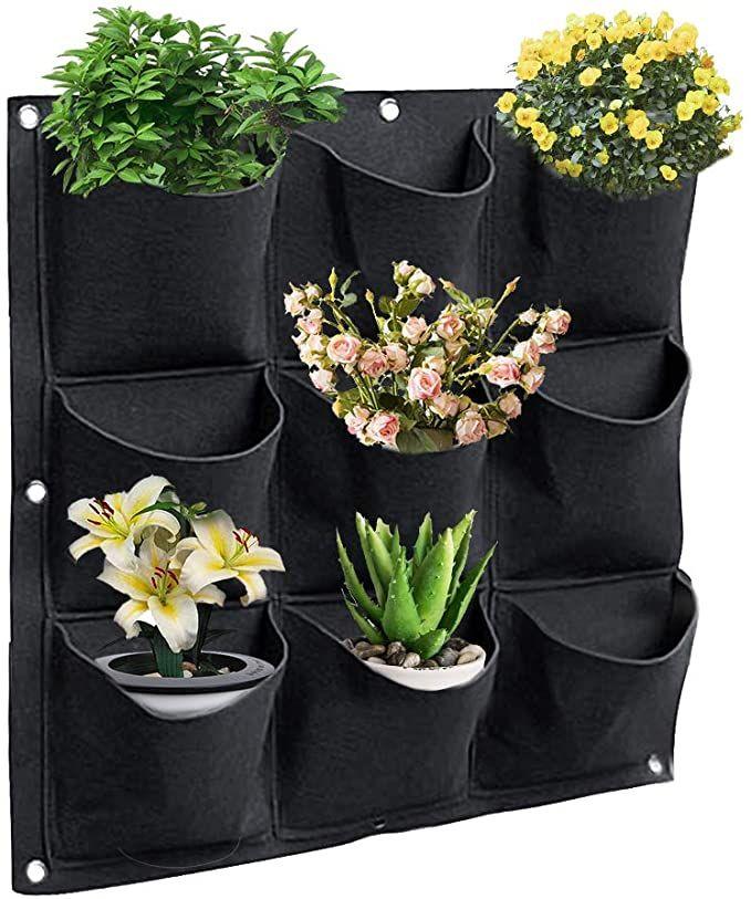 Color You An der Wand montierte hängende Pflanzentaschen, vertikale grüne Pflanztaschen, schwarze Pflanztaschen mit 9 Taschen, Gartenpflanzentasche für Heimtextilien, Büro- und Gartenarbeiten