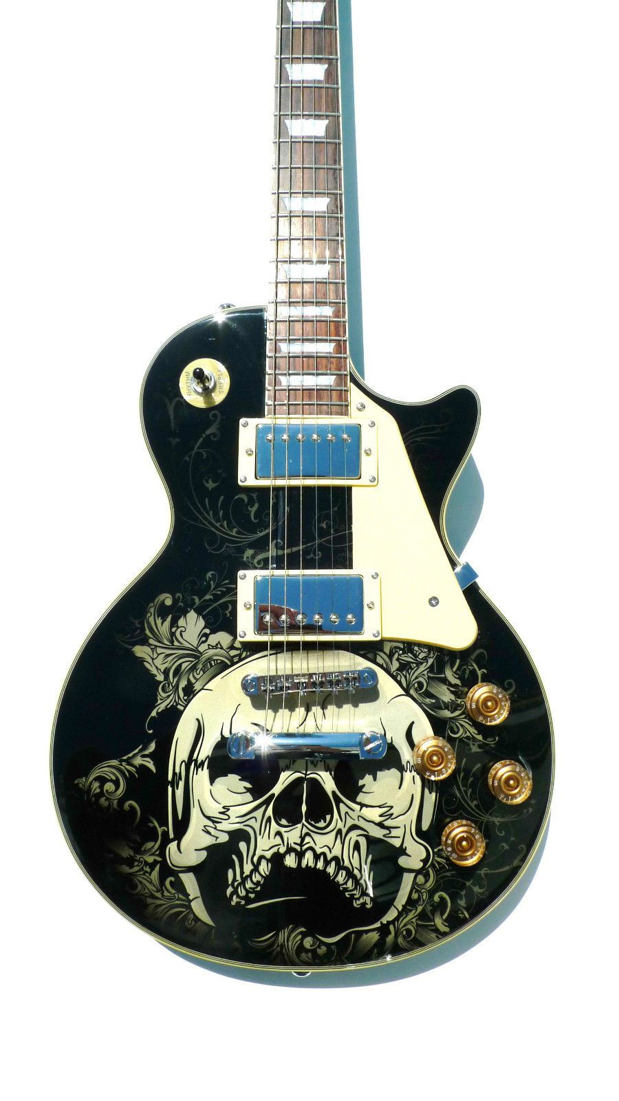 screaming skull electric guitar ja cool guitar paint jobs and silly shit that made me grin. Black Bedroom Furniture Sets. Home Design Ideas