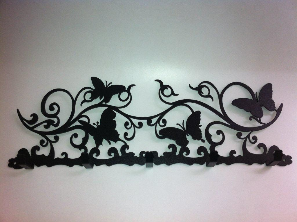Dcor art artistic iron metal wall coat hat clothes bag rack hooks 5 hangers.  $30.77