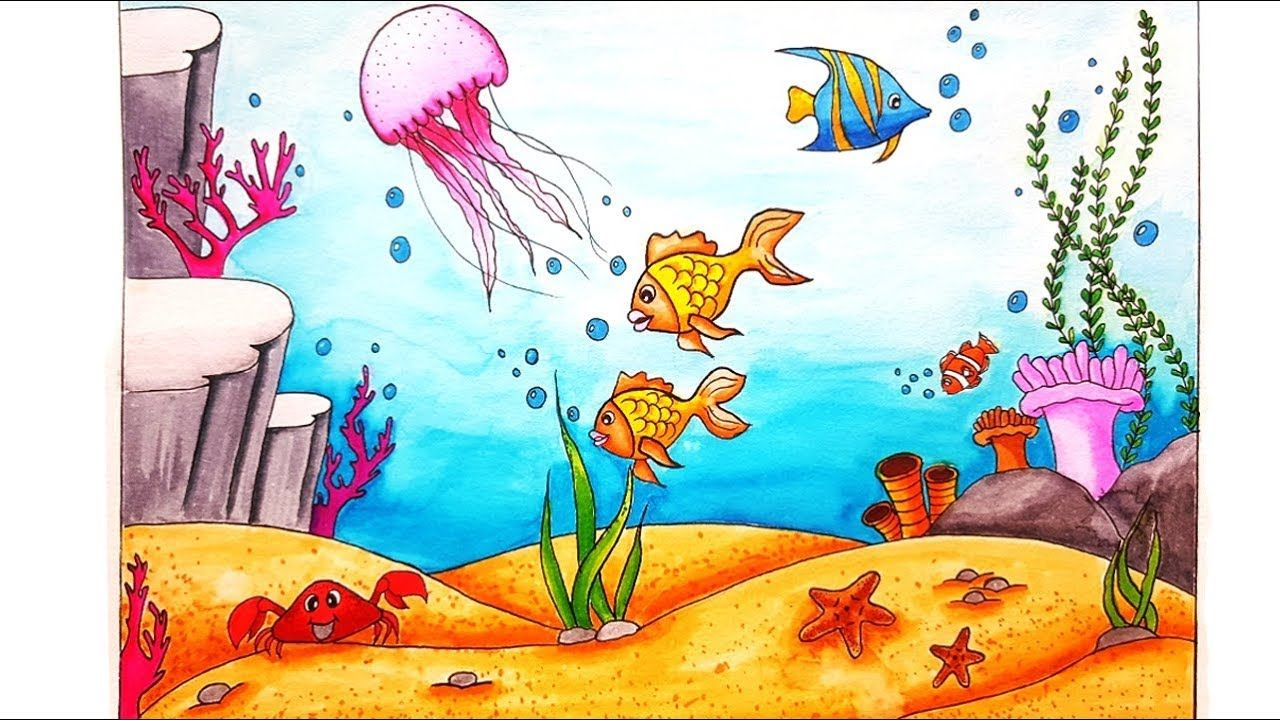 How to Draw An Underwater Scenery for Beginners Step By