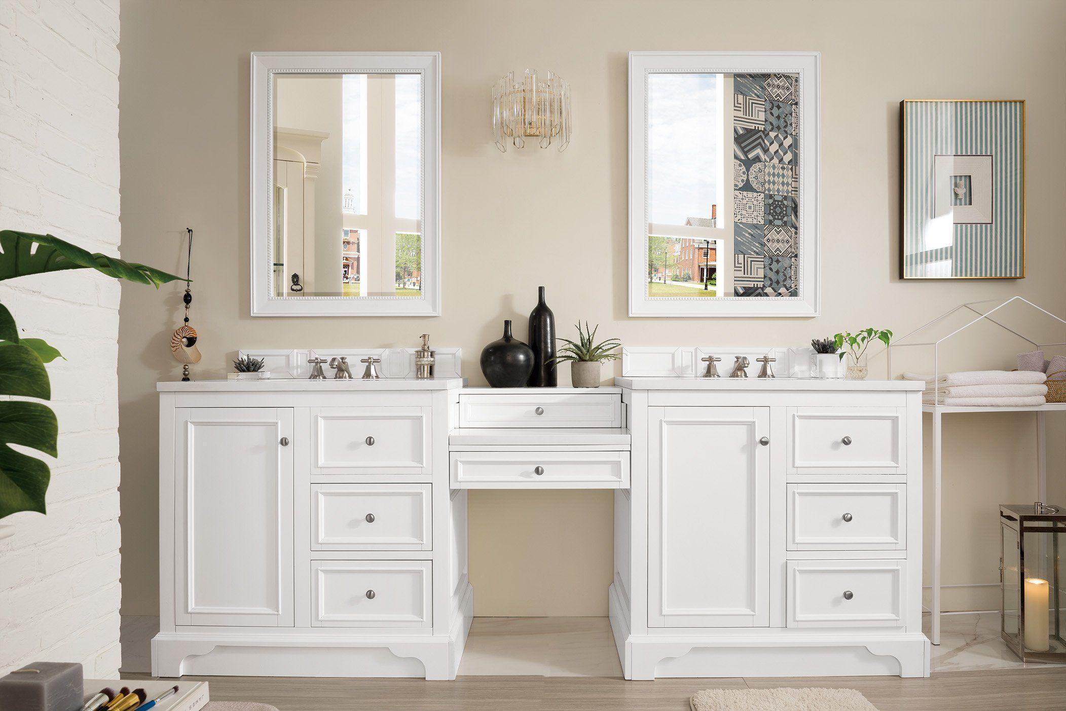"De Soto 94"" Double Bathroom Vanity White vanity bathroom"