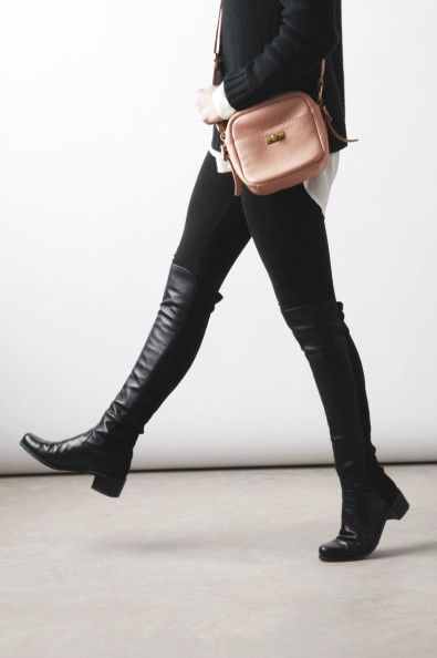 4dd14a72f95 Totally want these boots!! Stuart Weitzman Reserve (it s the 5050 boot with  a little more heel) The Black Boot  Stuart Weitzman Reserve Boots H M  Sweater ...