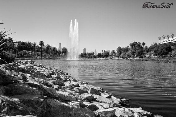 Echo Park Lake Black White Photography Chicano Soul Los Etsy Echo Park Lake Chicano Echo Park