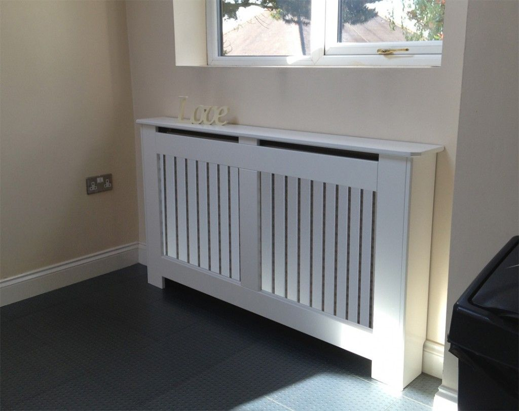 Radiator Covers White with a Vertical Grille