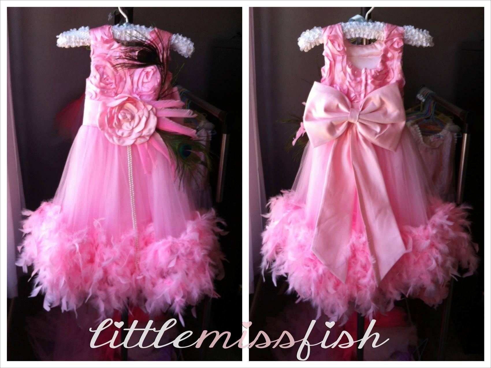 Princess Feather Bow Chic Vintage Flowergirl Dress - Available in ...