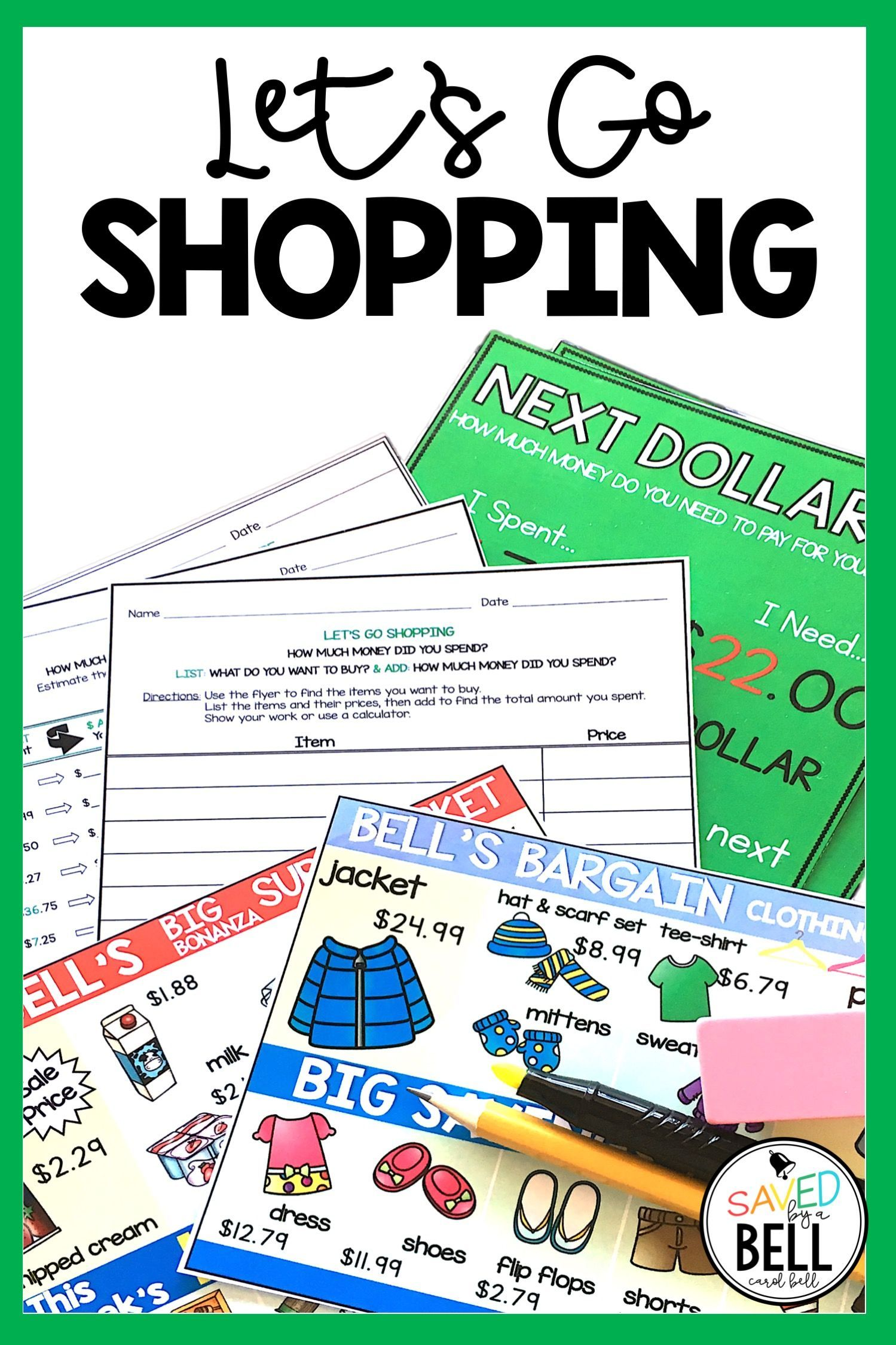 Shopping Worksheets Addition Subtraction Next Dollar Up
