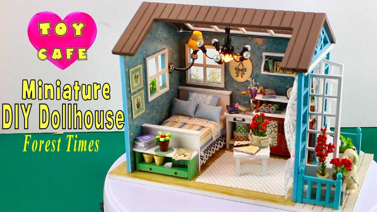 Diy miniature dollhouse kit with working lights forest