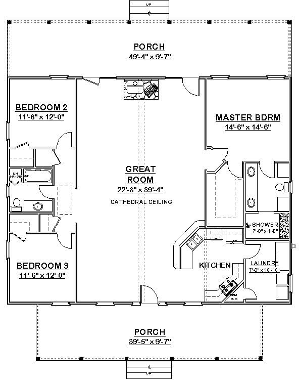 Square House Plans 40x40 | The Makayla Plan Has 3 Bedrooms And 2 Baths In A Part 72