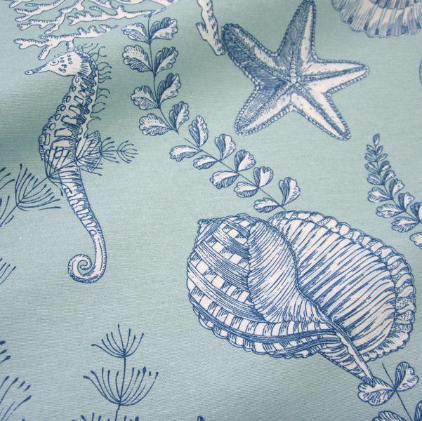 stoff seepferdchen muschel koralle aqua mint neu von werthers stoffe auf fabric. Black Bedroom Furniture Sets. Home Design Ideas