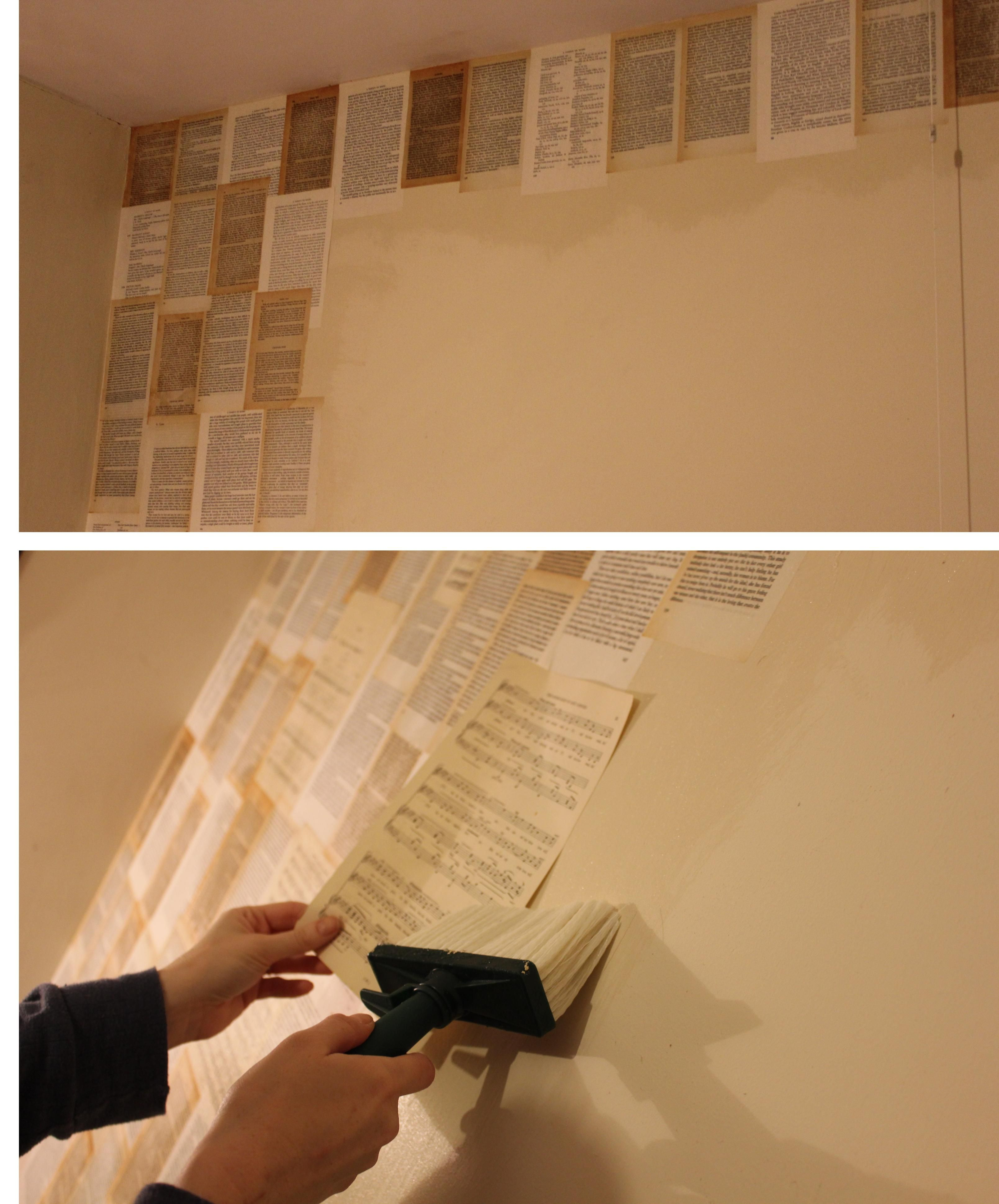 diy book pages and sheet music wallpaper to decorate bedroom apartment stuff pinterest. Black Bedroom Furniture Sets. Home Design Ideas