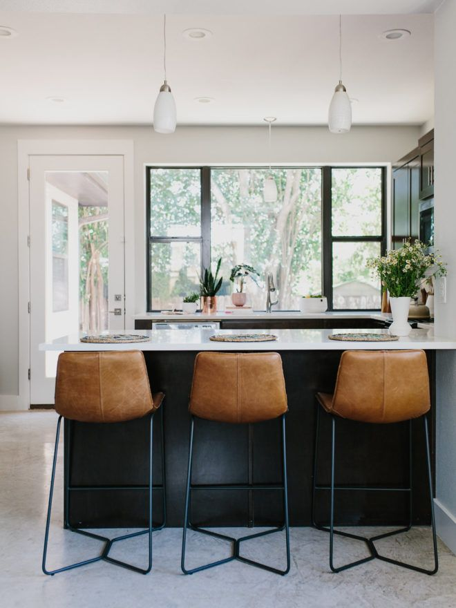 Kitchen Bar Stool Frosted Glass Doors For Cabinets Styling Our Rental Two Ways Color Vs Neutrals Spaces And Island Stools Black