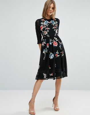 8d38e68c7d8 ASOS PREMIUM Midi Skater Dress with Floral Embroidery