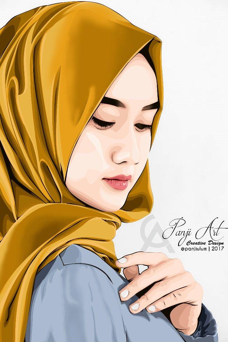 Hijab Vexel 2 Lukisan Wajah Gambar Lukisan