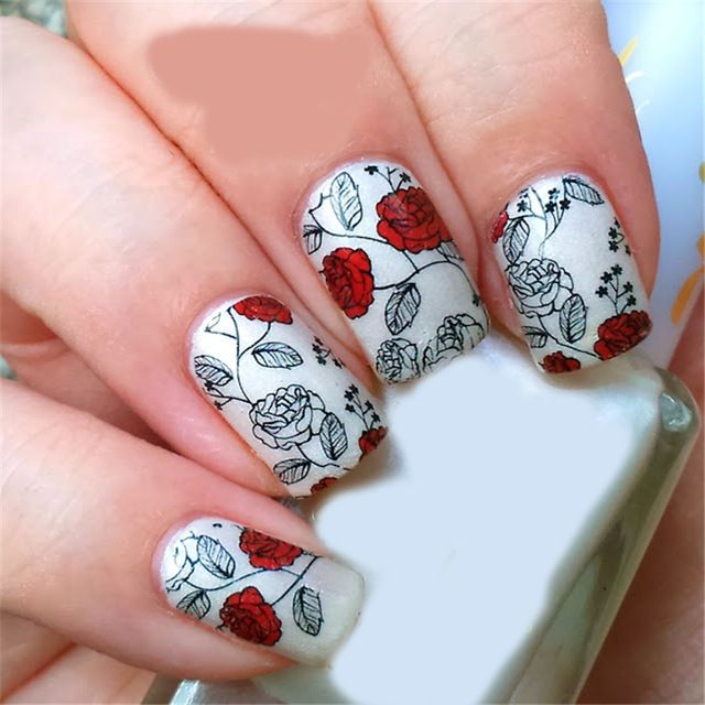 BORN-PRETTY-Red-Rose-Flower-Nail-Art-Water-Decals-Transfer-Nail ...