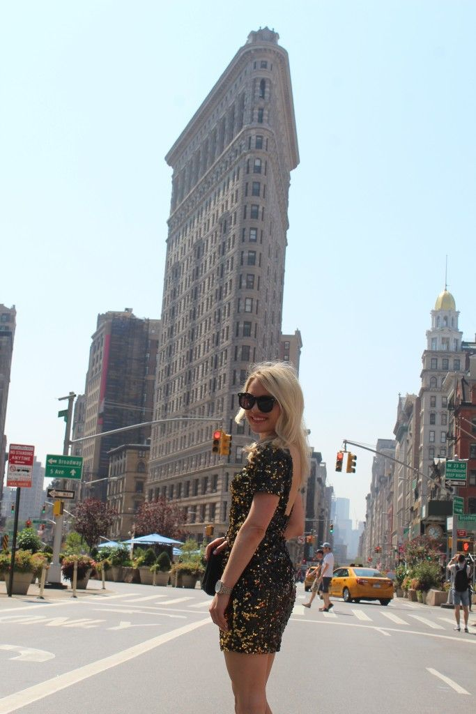 Caitlin Hartley of Styled American, girl i glam dress in front of flat iron building http://styledamerican.com/favorite-looks-of-2015/