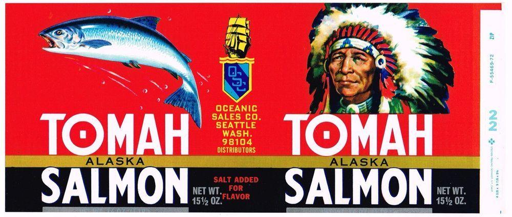 ORIGINAL CAN LABEL VINTAGE SALMON TOMAH SEATTLE WASHINGTON INDIAN CHIEF ALASKAN