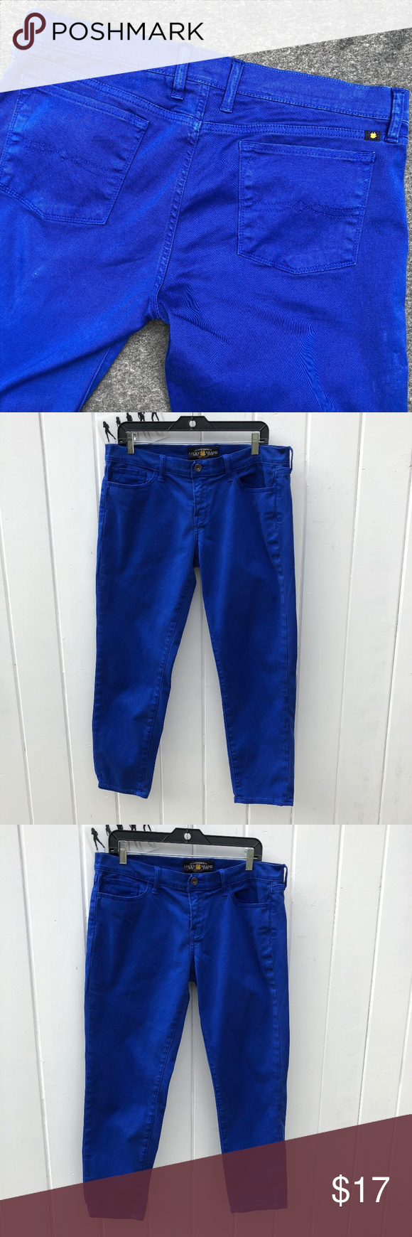 Lucky Brand Charlie Capri Blue Mid Rise Pants Tag Size 14