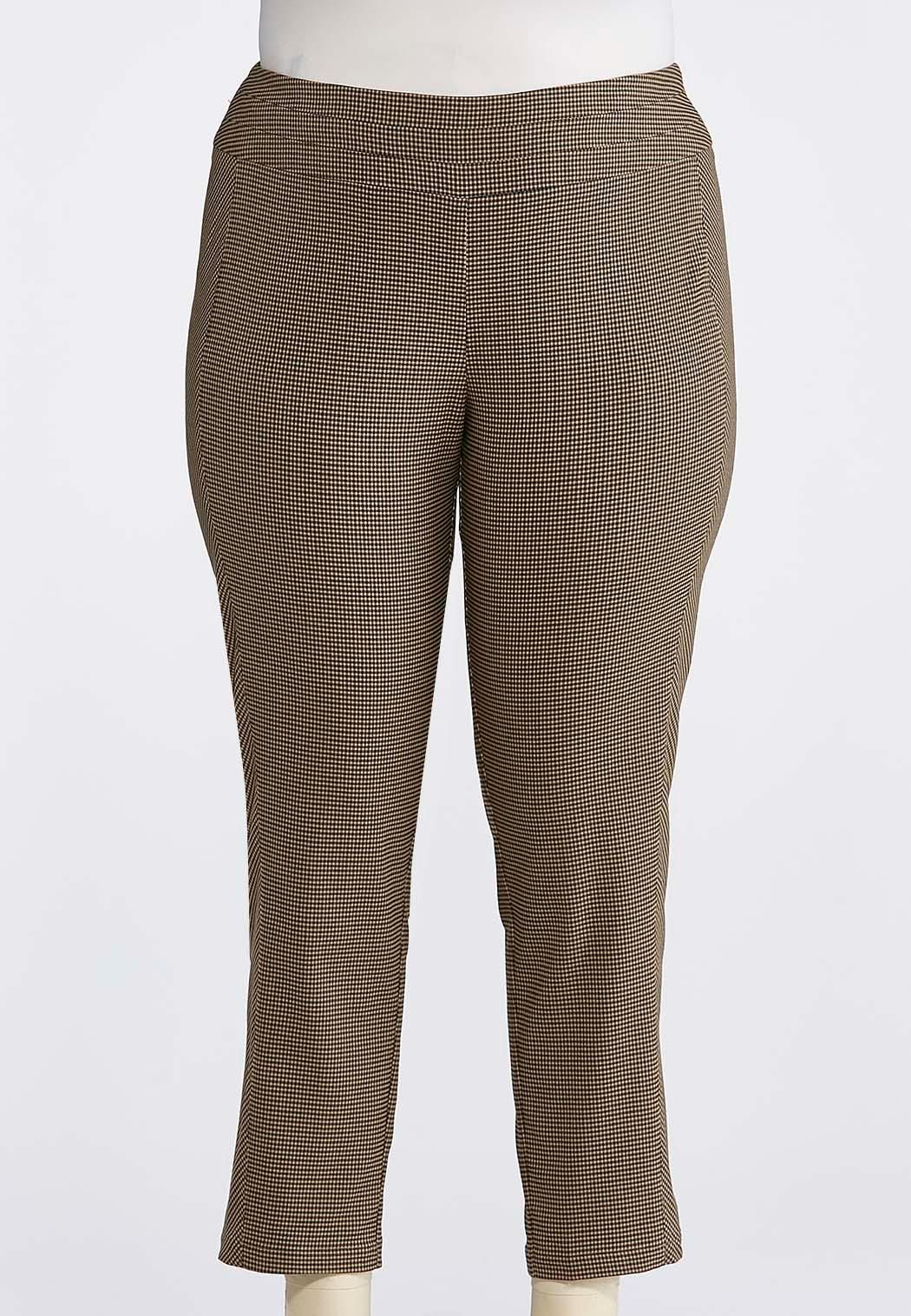 685fedab77c Plus Size Brown Plaid Ankle PantsFeel sophisticated and chic in these  stretch woven pants