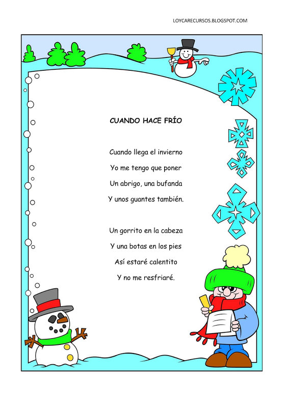 Poemas y rimas infantiles del invierno para ni os poema - Proyecto el invierno ...