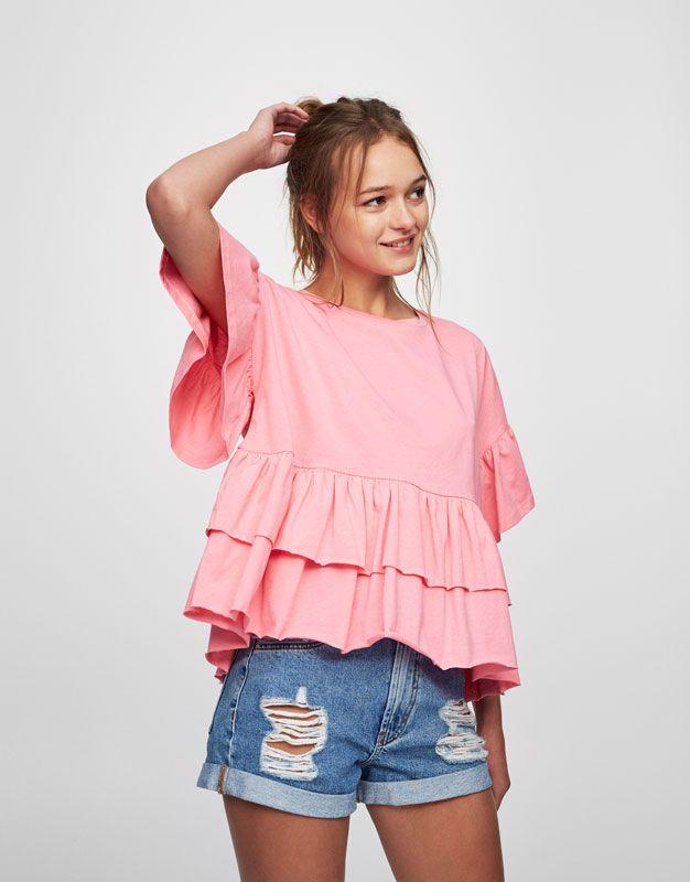 Camiseta volantes bajo y mangas | Moda | Pinterest | Volantes, Bajos ...