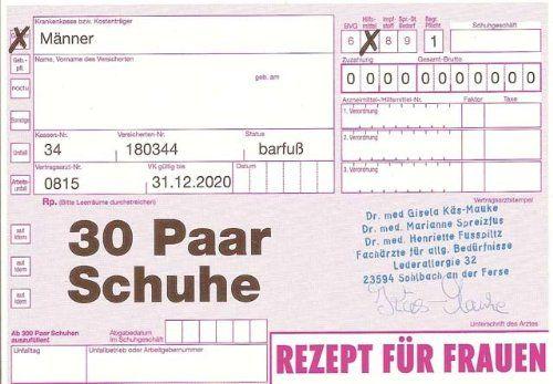 Postkarte - Rezept über 30 Paar Schuhe  https://www.amazon.de/dp/B005H9LMQ0/ref=cm_sw_r_pi_dp_x_gmHaybC1K5FRY