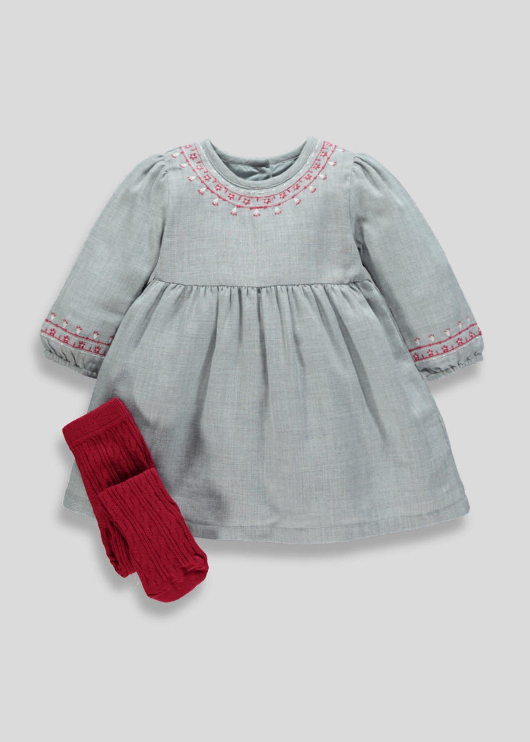 976609632bce Girls Embroidered Dress   Tights (Newborn-18mths) – Grey