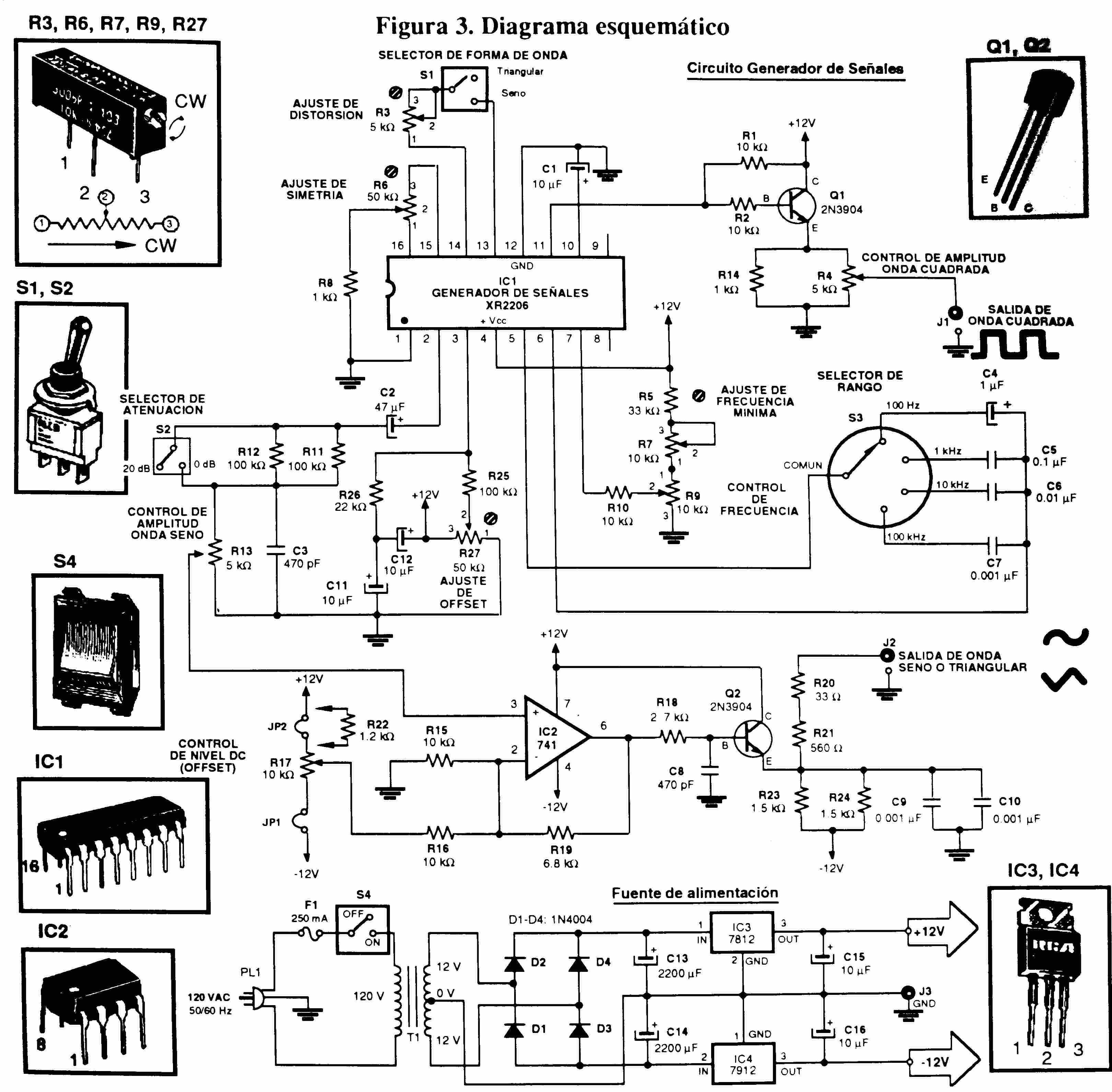 Circuito Xr2206 : Circuito generador de ondas con xr electronics