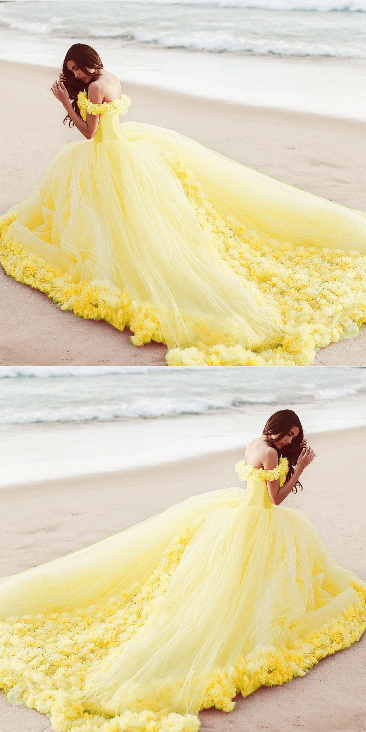 Off The Shoulder Tulle Flower Wedding Dresses Ball Gowns In 2020