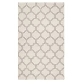 "Stylishly anchor your living room or master suite with this elegant hand-woven wool rug, showcasing a classic quatrefoil trellis motif in an oatmeal hue.  Product: RugConstruction Material: WoolColor: Oatmeal and whiteFeatures:  HandmadeFlatwovenPile Height: 0.157""  Note: Please be aware that actual colors may vary from those shown on your screen. Accent rugs may also not show the entire pattern that the corresponding area rugs have.Cleaning and Care: Vacuum regularly with non-beater ..."