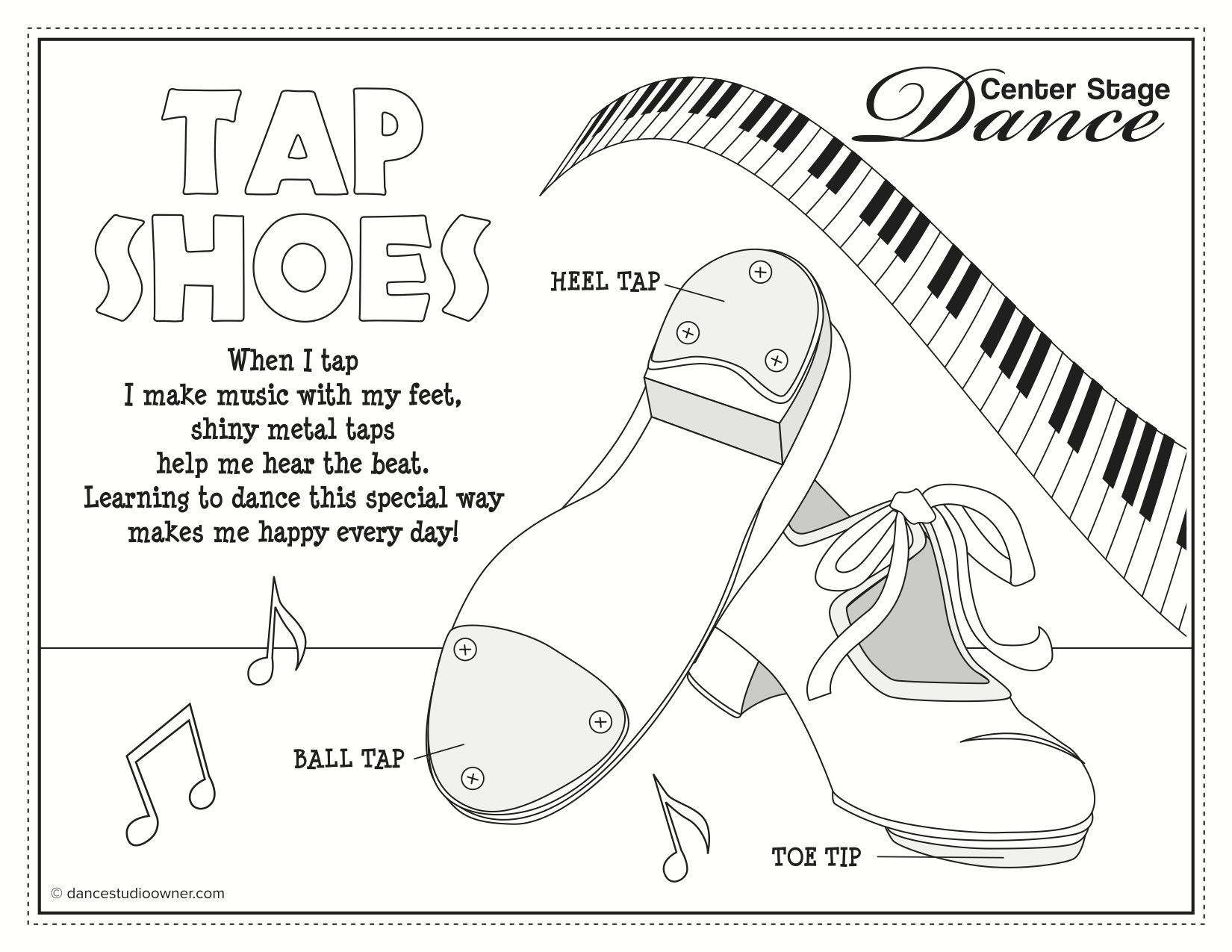 Tap Tap Shoes Coloring Sheet Dance Coloring Pages Toddler
