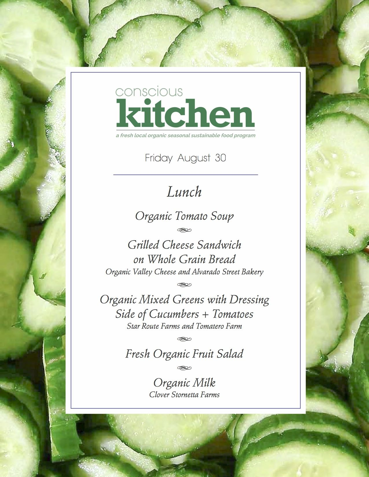 Day 3 Lunch Menu for the Conscious Kitchen at BaysideMLK