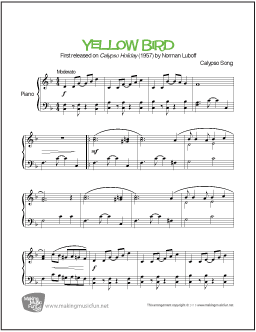 Yellow Bird\' by Norman Luboff. Print and Download Easy Piano Sheet ...